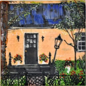 "Pennsylvania Cottage encaustic on birch panel 6"" by 6"" Marion Meyers 2014 $250"