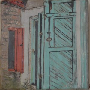 "Green Doors #1 Encaustic on birch panel 6"" by 6"" Marion Meyers 2014 $250"