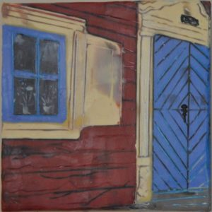 "Blue Doors #1 Encaustic on birch panel 6"" by 6"" Marion Meyers 2014 $250"