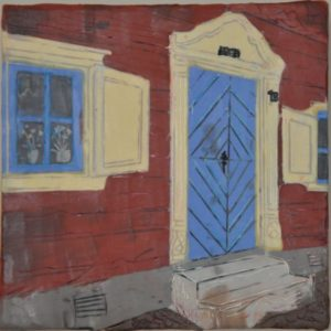 "Blue Doors #2 Encaustic on birch panel 8"" by 8"" Marion Meyers 2014 $300"