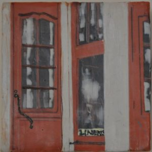 "Linen Shop #1 Encaustic on birch panel 6"" by 6"" Marion Meyers 2014 $250"
