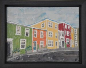 "On The Street, St. John's #3 Encaustic on plywood, framed 11.75"" by 8.75"" Marion Meyers 2011 $250"