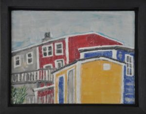 "On The Street, St. John's #4 Encaustic on plywood, framed 11.75"" by 8.75"" Marion Meyers 2011 $250"