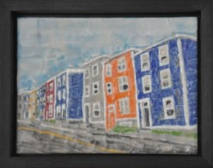"On The Street, St. John's #5 Encaustic on plywood, framed 11.75"" by 8.75"" Marion Meyers 2011 $250"