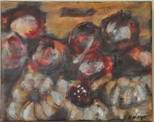 "Figs & Pomegrantes #1 encaustic on birch panel 8"" by 10"" Marion Meyers 2014 $225"