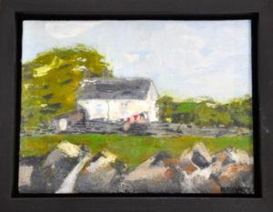 "Cotswolds Cottage encaustic on birch panel 9"" by 12"" Marion Meyers 2014 $250"