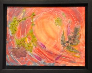 "Summer Breeze encaustic and dried flowers on birch panel 9"" x 12"" Marion Meyers 2014 $175"