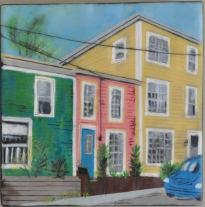 "Pastel Places St. John's #2 Encaustic on Birch Panel 8"" by 8"" Marion Meyers 2012 $385"