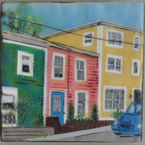 "Pastel Places St. John's #1 Encaustic on Birch Panel 6"" by 6"" Marion Meyers 2012 $250"