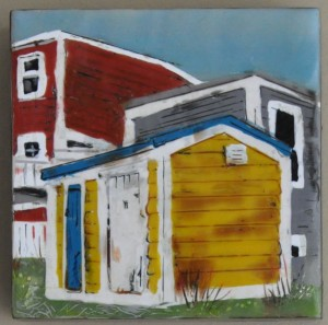"Urban Shed #1 Encaustic on Birch Panel 6"" by 6"" Marion Meyers 2012 $250"