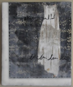 "Birch Dress #1 Encaustic with birch bark, paper and india ink on birch panel 8"" by 12"" Marion Meyers $200"