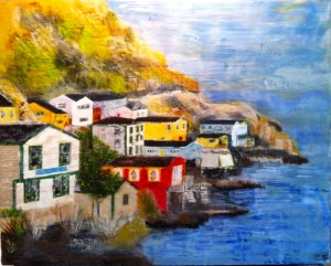 "The Outer Battery, St. John's Encaustic on Birch Panel 20"" by 30"" Marion Meyers 2012 $1,200 SOLD"