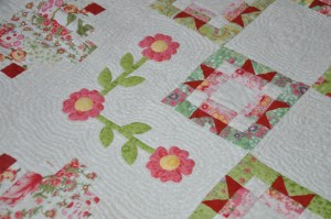 This detail of the applique also shows off the echo quilting around the flowers.