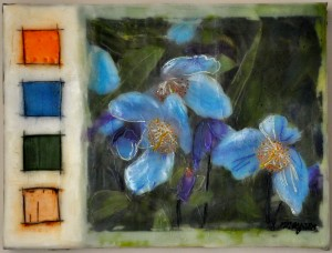 "Blue Poppies in the Birches Encaustic and birch bark on birch panel 9"" by 12"" Marion Meyers $225"