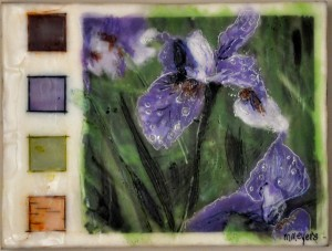 "Siberian Irises in the Birches Encaustic and birch bark on birch panel 9"" by 12"" Marion Meyers 2013 $225"