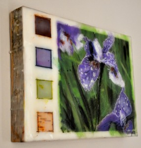 "Siberian Irises in the Birches (side view) Encaustic and birch bark on birch panel 9"" by 12"" Marion Meyers 2013 $225"
