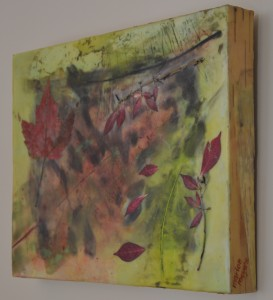 "The Understory Encaustic, birch bark and leaves on birch panel 11"" by 14"" Marion Meyers 2014 $265"