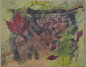 "The Understory Encaustic, birch bark, leaves on birch panel 11"" by 14"" Marion Meyers 214 $265"