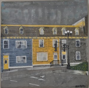 "An Early Snow in St. John's #3 Encaustic on birch panel 12"" by 12"" Marion Meyers 2014 $385"
