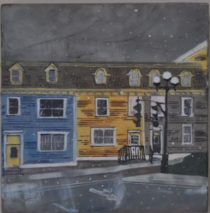 "An Early Snow in St. John's #2 Encausitc on birch panel 8"" by 8"" Marion Meyers 2014 $300"