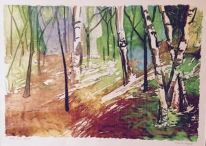 Oak Hills Dawn monoprint, fabric dye on paper, framed Marion Meyers $575