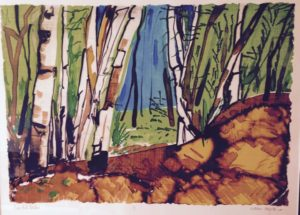 Oak Hills Birches monoprint framed Marion Meyers $575
