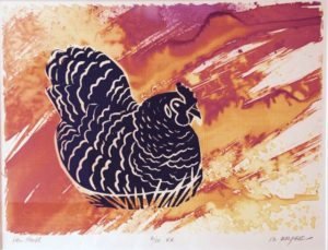 Hen House 6/10 V.E., monoprint, ink & fabric dyes on paper, framed Marion Meyers $300