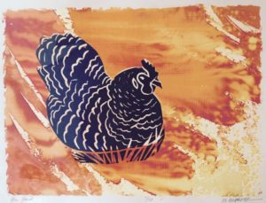 Hen House VE 7/10 monoprint, ink & fabric dye on paper, unframed Marion Meyers $135