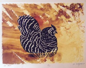Hen House v.e. 8/10 monoprint, ink & fabric dyes on paper, unframed Marion Meyers $135