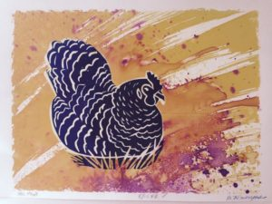 Hen House v.e. 5/10 monoprint, ink & fabric dyes on paper, unframed Marion Meyers $135