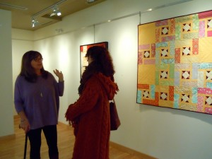 Group Show at the Kent Farndale Gallery in Port Perry, April 2015. Quilt by Marion Meyers hanging in the background.