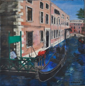 "Canali di Venezia, encasutic on birch panel, 16"" x 16"", Marion Meyers, 2016"