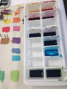 The liquid fabric dye solutions are in a pot pallet but you can't see the colours easily so I've done a colour chart beside my pallet. I use other cups to mix colours. Or I layer colours on the screen as I paint.