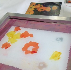 Using a photo of poppies from my garden as a reference I paint the dye on the screen is a loose painterly way. The screen is raised from the table on shims so that the tabletop doesn't interfere with my painting.