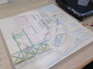 Venice: adding pencil crayon colour