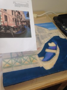 Venice: working the plan - So following the plan of what to do next, I'll mix more colour and medium and mask off areas that are next to where I am filling in the painting. Because I have to fuse each of the six or eight layers, I need to protect what's already there and keep paint away from where another colour is going.