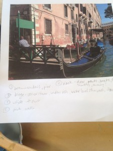 Venice: keeping it organized - Using my print out of the photo, I work out a plan for what order to work. I need each area to harder for a day before adding a colour right next to it. This helps to prevent colours from bleeding into each other.