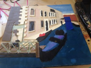 Venice: 8 layers of wax with colour - you can see that I've done doors, windows, the side wall, the building in the distance and part of the dock, leaving that middle ground for the end.
