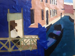 Venice: masking off is tricky work - you can see that you need to be precise and why I did the drawing underneath it all.