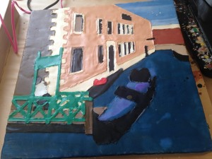 Venice: the colour blocks are done and you can see that the surface looks bumpy with some edges higher than others.