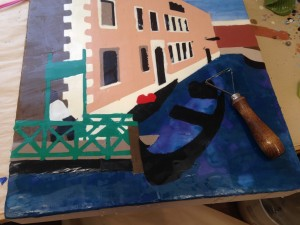 Venice: after scraping the surface level away I'm left with a fairly flat and even surface. This is physically hard to do and I must be careful not to gouge any holes. It takes a long time to get the whole surface done. The painting isn't attractive at this stage and it's hard to keep motivated.