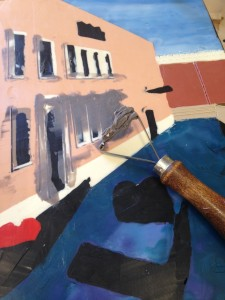 Venice: Now I'm carefully scraping away the paint on top to reveal those fine lines before fusing.