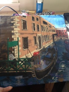 Venice: almost finished - I use the tips of brushes to paint on waves and other bits. I also use paint sticks to add texture, shadow and colour to various areas. I'll have to write more about that another time!