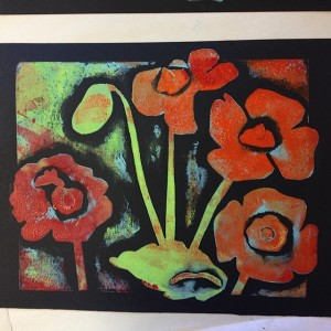 A relaxed image of a poppy garden. Ink on paper. There's only one - so it's a monoprint!