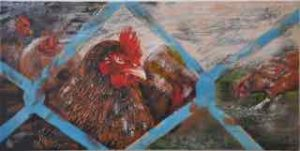 "On the Range, encaustic on birch panel, 12"" by 24"", by Marion Meyers, $600, set of 3 for $1,500"