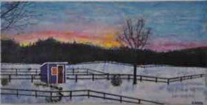 "Hen House at Dawn, encaustic on birch panel, 12"" by 24"", by Marion Meyers, $600, set of 3 for $1,500"