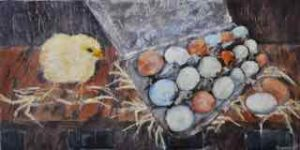 "So Many Eggs, encaustic on birch panel, by Marion Meyers, 12"" by 24"", $600, set of 3 $1,500"