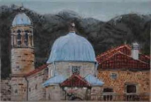 "Domes of Kotor, encaustic on birch panel, 8"" by 13"", by Marion Meyers, #350"