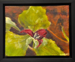 "Red Trillium encaustic on birch panel, framed 8"" by 10"" By Marion Meyers $150"