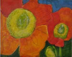 "Poppy Joy encaustic on birch panel, 30"" x 24"" Marion Meyers $400"